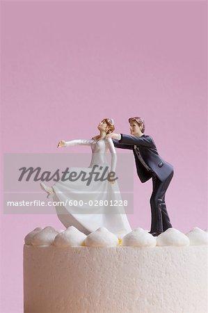 Wedding Cake Figurines, Groom Grabbing Runaway Bride