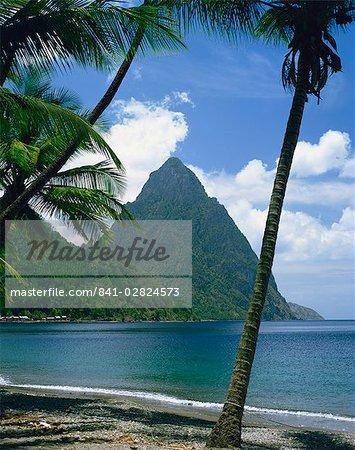 Les Pitons, Sainte-Lucie, au vent Iles, Antilles, Caraïbes, Amérique centrale