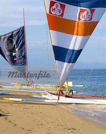 Prahu boat on Sanur Beach, Bali, Indonesia, Southeast Asia, Asia