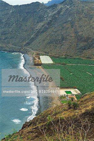 Playa de Hermigua, La Gomera, Canary îles, Espagne, océan Atlantique, l'Europe