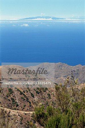 Southeast coast of island with Las Palmas in background, La Gomera, Canary Islands, Spain, Atlantic Ocean, Europe