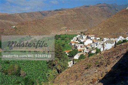 Houses beside banana plantations, Santiago, La Gomera, Canary Islands, Spain, Atlantic Ocean, Europe