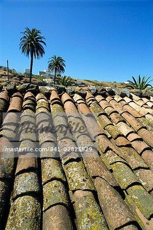 Roof tiles, southeast area near Las Hayas, La Gomera, Canary Islands, Spain, Atlantic, Europe