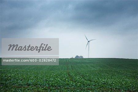 Wind Turbine on a Farm, Forlev, Region Midtjylland, Jutland Peninsula, Denmark