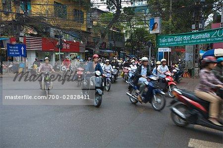 Scène de rue, le trafic, Hanoi, Vietnam