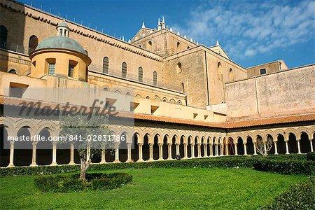 Duomo cloître, Monreale, Sicile, Italie, Europe
