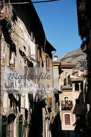 Narrow street, Scanno, Abruzzo, Italy, Europe