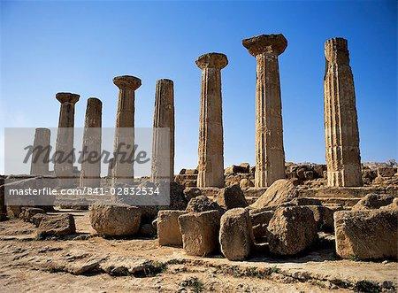 Temple d'Héraclès (Hercule), datant de 500 avant JC, Agrigento, Sicile, Italie, Europe