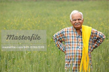 Farmer in field, hands on hips