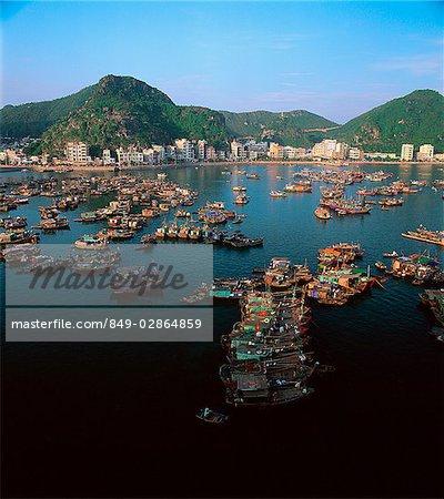 Vietnam, Halong Bay, Cat Ba Island, View of Cat Ba Village and Harbor