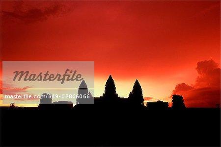 Cambodia, Angkor Wat at sunset