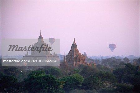 Myanmar (Burma), Bagan,  Hot-air balloons over the temples of Bagan
