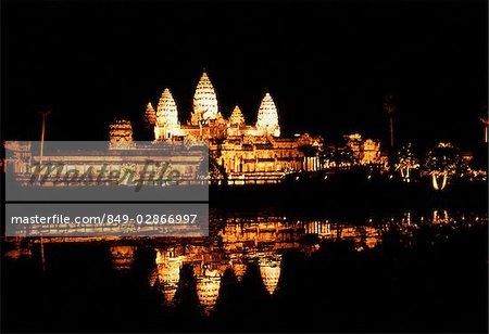 Cambodia, Siem Reap, Ancient Khmer temple Angkor Wat at night