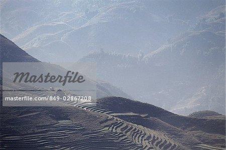 Vietnam, Sa Pa, Mist over the mountains