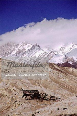 Nepal, Mustang, Ancient Tibetan Buddhist monastery with stripes of Sakya sect.