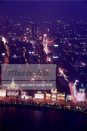 Vue aérienne de la Chine, Shanghai, le Bund