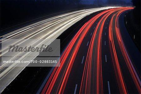 Streaking Lights on Highway at Night Near Stuttgart, Baden-Wurttemberg, Germany