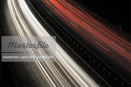Streaking Lights on Highway at Dusk, Spessart, Bavaria, Germany