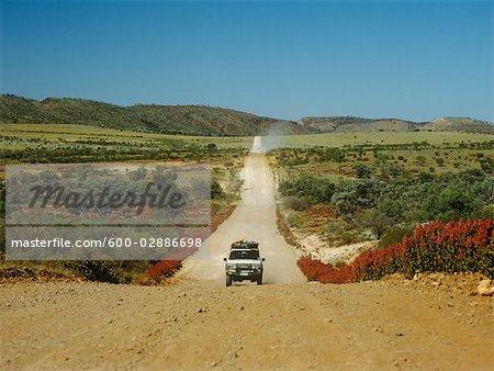 Four Wheel Drive on Gravel Road, Gammon Ranges, Flinders Ranges National Park, South Australia, Australia