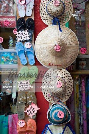 Hats and Shoes at International Bazaar, Freeport, Grand Bahama Island, Bahamas