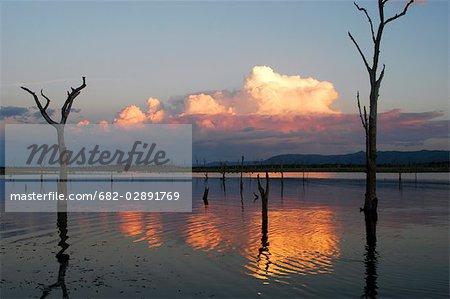View over lake at sunset, Kariba, Zimbabwe