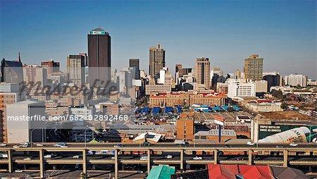 Vue aérienne sur le centre-ville de Johannesburg