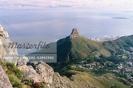 Vue aérienne de Lions Head et Robben Island