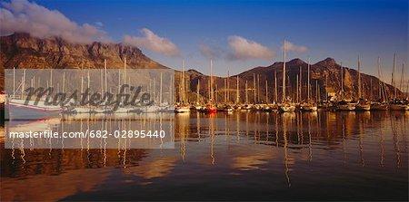 Amarres de Hout Bay yacht vers Chapmans Peak. Hout Bay Harbour, Cape Town, Western Cape Province, Afrique du Sud