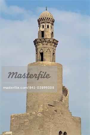 Le minaret de la mosquée de Ibn Tulun, patrimoine mondial de l'UNESCO, le Caire, Egypte, Afrique du Nord, Afrique