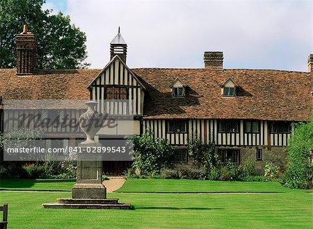 Pans de bois maison, Igtham Mote, Kent, Angleterre, Royaume-Uni, Europe