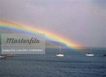 Rainbow over loch, Isle of Skye, Inner Hebrides, Highland region, Scotland, United Kingdom, Europe