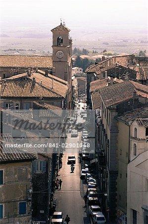 View of the main street from the Palazzo Farnese, Caprarola, Lazio, Italy, Europe