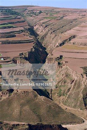 Terrassement au moment des récoltes, près de la Province de Lanzhou, Gansu, Chine, Asie