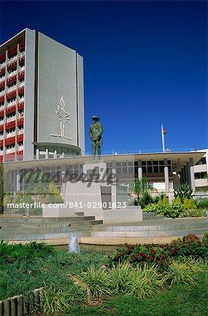 Statue de Curt von Francois et hôtel de ville, Windhoek, Namibie, Afrique