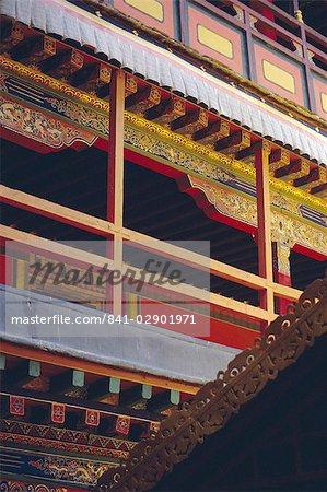 Détail, le palais du Potala, patrimoine mondial de l'UNESCO, Lhassa, Tibet, Chine, Asie