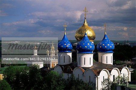 Cathédrale de l'Assomption, larve Sergiy Trinité-Saint-, monastère de Serguiev Possad, Site du patrimoine mondial de l'UNESCO, en Russie, Europe