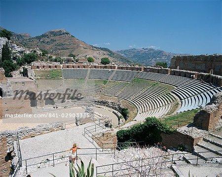 Roman and Greek theatre, Taormina, Sicily, Italy, Europe