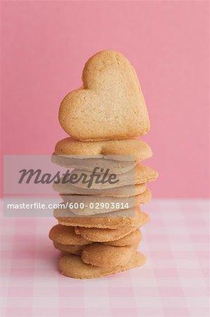 Stapel von Herzform Cookies