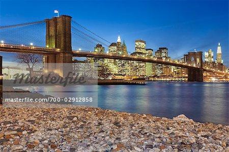 Brooklyn Bridge and Lower Manhattan Skyline, New York, New York, USA
