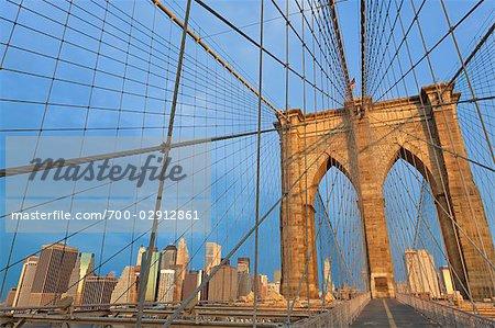 Pont de Brooklyn et de Lower Manhattan, Manhattan, New York, New York, USA