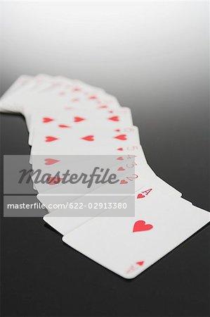 Spielkarten anzeigen entsprechen der Herzen