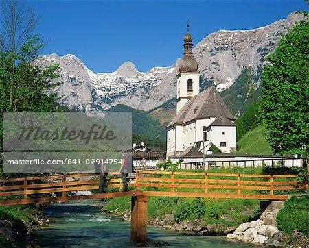 Ramsau village church and mountains, Bavaria, Germany, Europe
