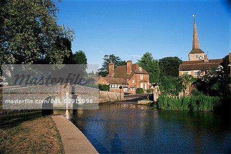 Medieval bridge and ford on River Darent, Eynsford, Kent, England, United Kingdom, Europe