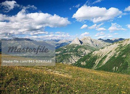 Vue du Col d'Allos, Parc National du Mercantour, près de Barcelonnette, Alpes de Haute Provence, Provence, France, Europe