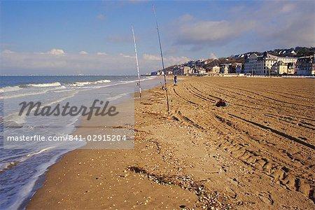 The beach, Trouville, Deauville-Trouville, Cote Fleurie, Calvados, Basse Normandie (Normandy), France, Europe