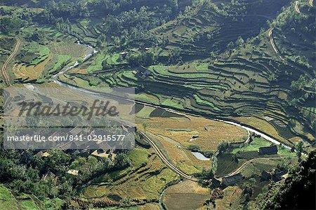 Farms and rice paddies, Shuicheng, Guizhou, China, Asia