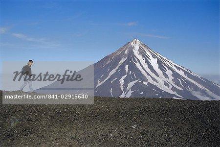 Koryaksky volcan, 3456m haute, volcan andésitique conique, Kamtchatka, de Sibérie orientale