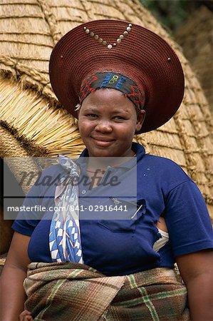 Lady zouloue dans Zululand, Afrique du Sud, Afrique