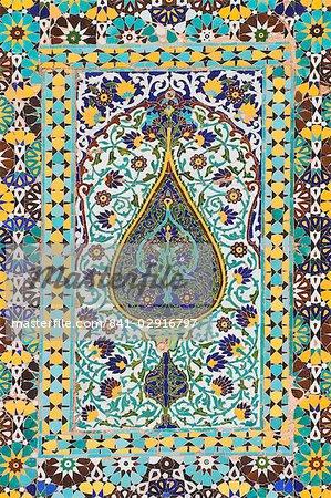 Détail du carrelage, mosquée du vendredi (Masjet-Ellison), Herat, Province d'Herat, Afghanistan, Asie