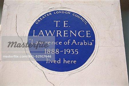 Plaque bleu au 14, rue Barton, commémorant T.E. Lawrence, Londres, Royaume-Uni, Europe